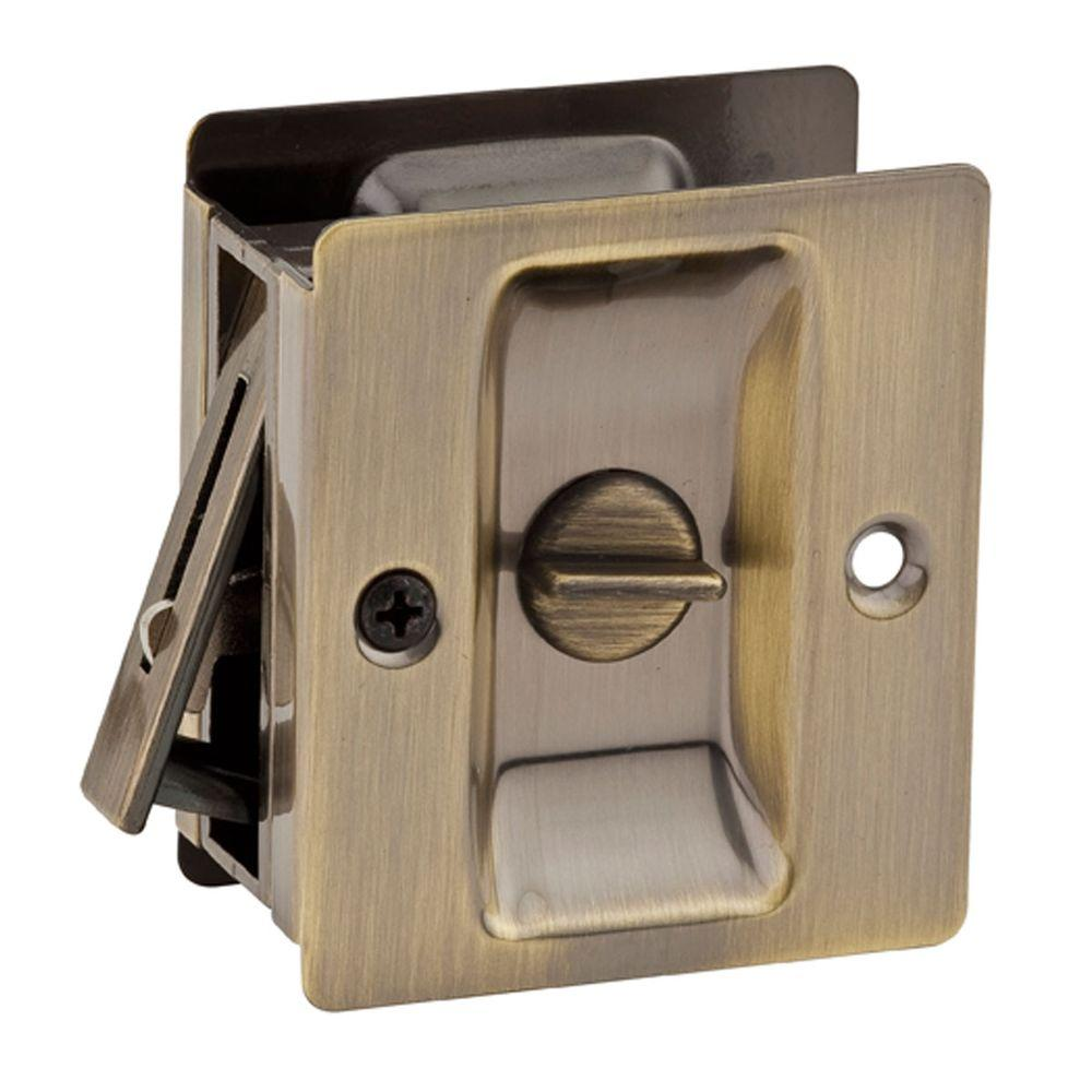 Kwikset Notch Antique Brass Bedbath Pocket Door Lock Garland Home