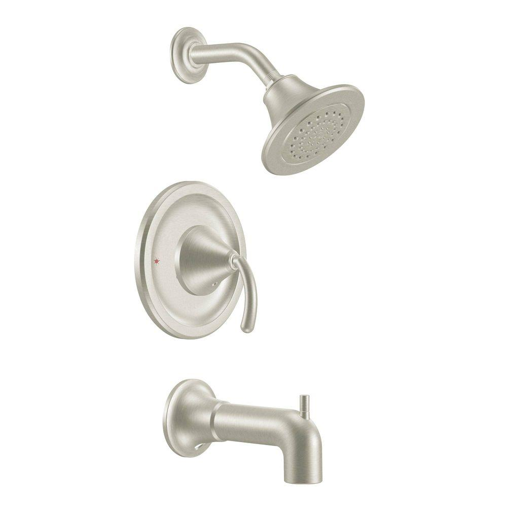 MOEN Icon Posi-Temp Tub and Shower Faucet Trim Kit in Brushed Nickel ...