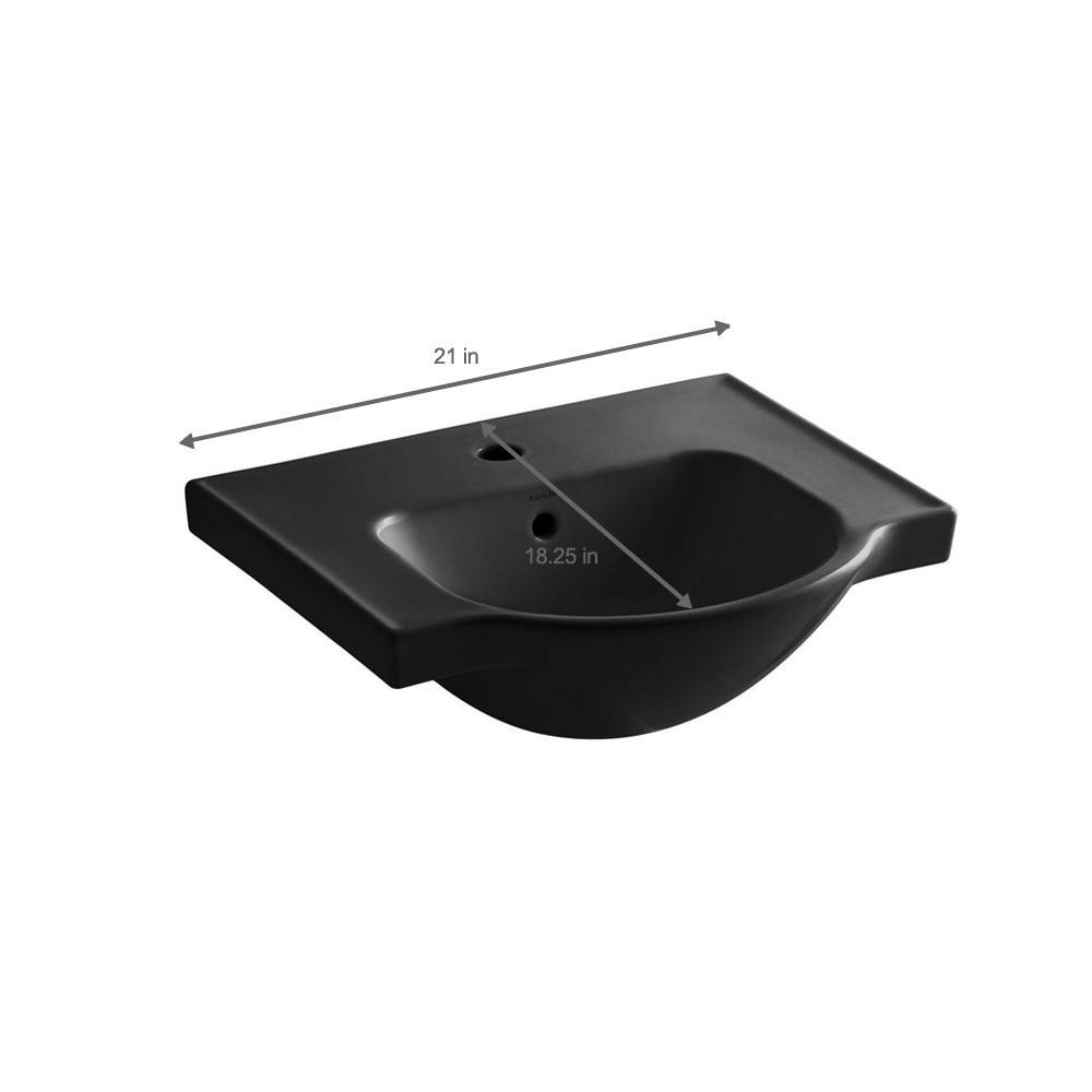 Kohler Veer 21 Pedestal Sink Basin Black Overflow Drain Single Hole