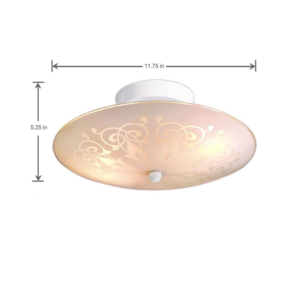 Hampton Bay 12 in 2Light White SemiFlushmount with Frosted Round