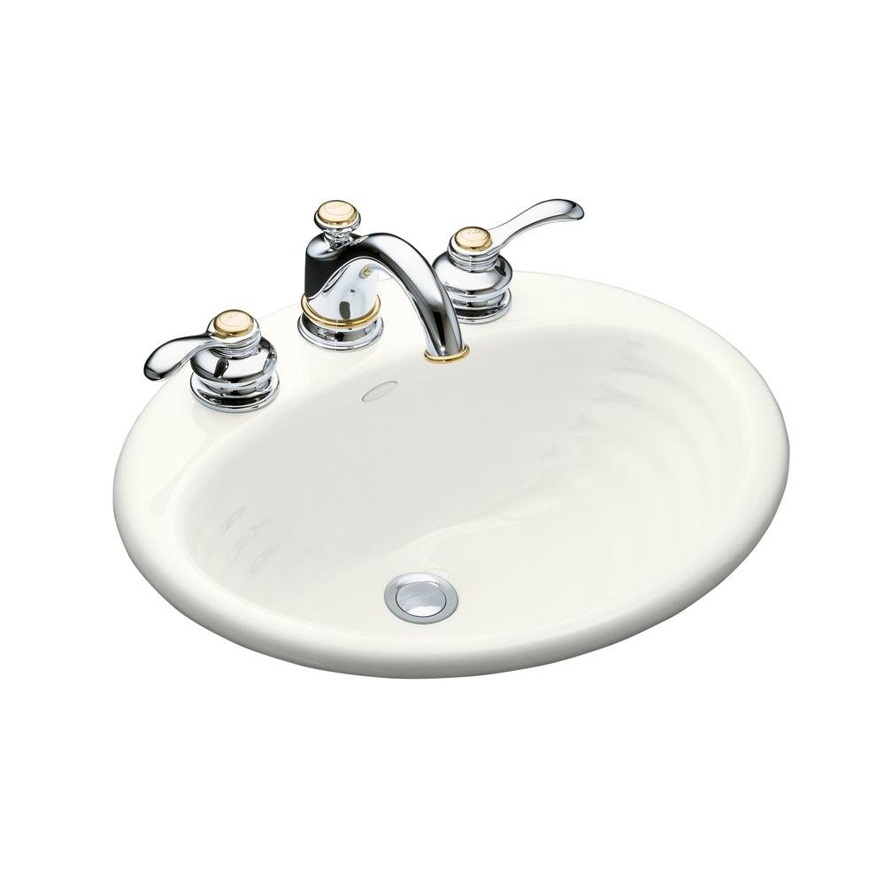 KOHLER Ellington Drop-In Cast Iron Bathroom Sink White Overflow ...