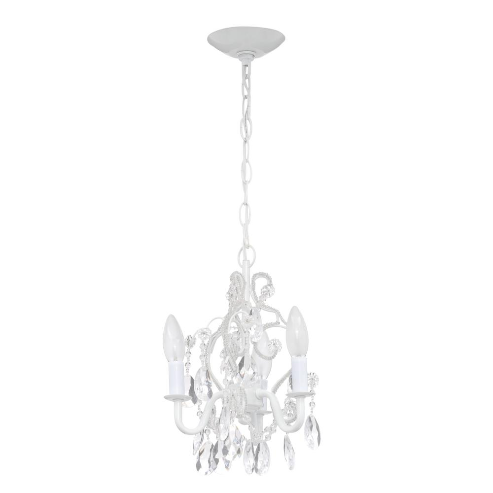3 light white mini chandelier chandelier designs hampton bay 3 light white mini chandelier w crystal drops aloadofball Image collections