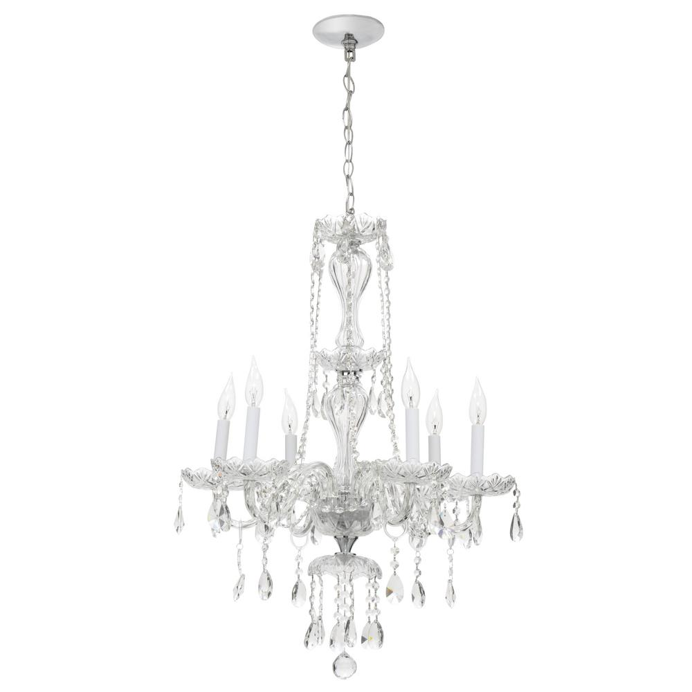 Hampton Bay Lake Point 6 Light Chrome And Clear Crystal Chandelier