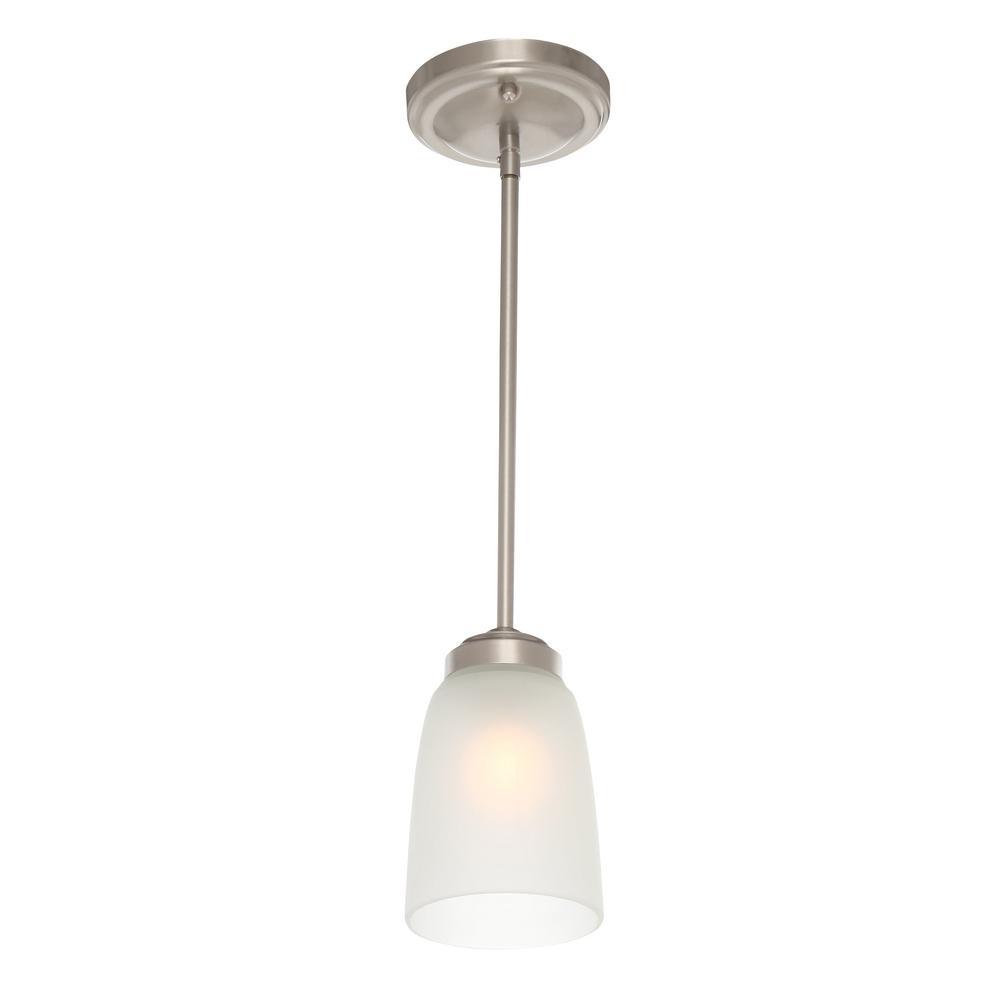 Hampton bay 1 light brushed nickel mini pendant with frosted glass hampton bay aloadofball Gallery