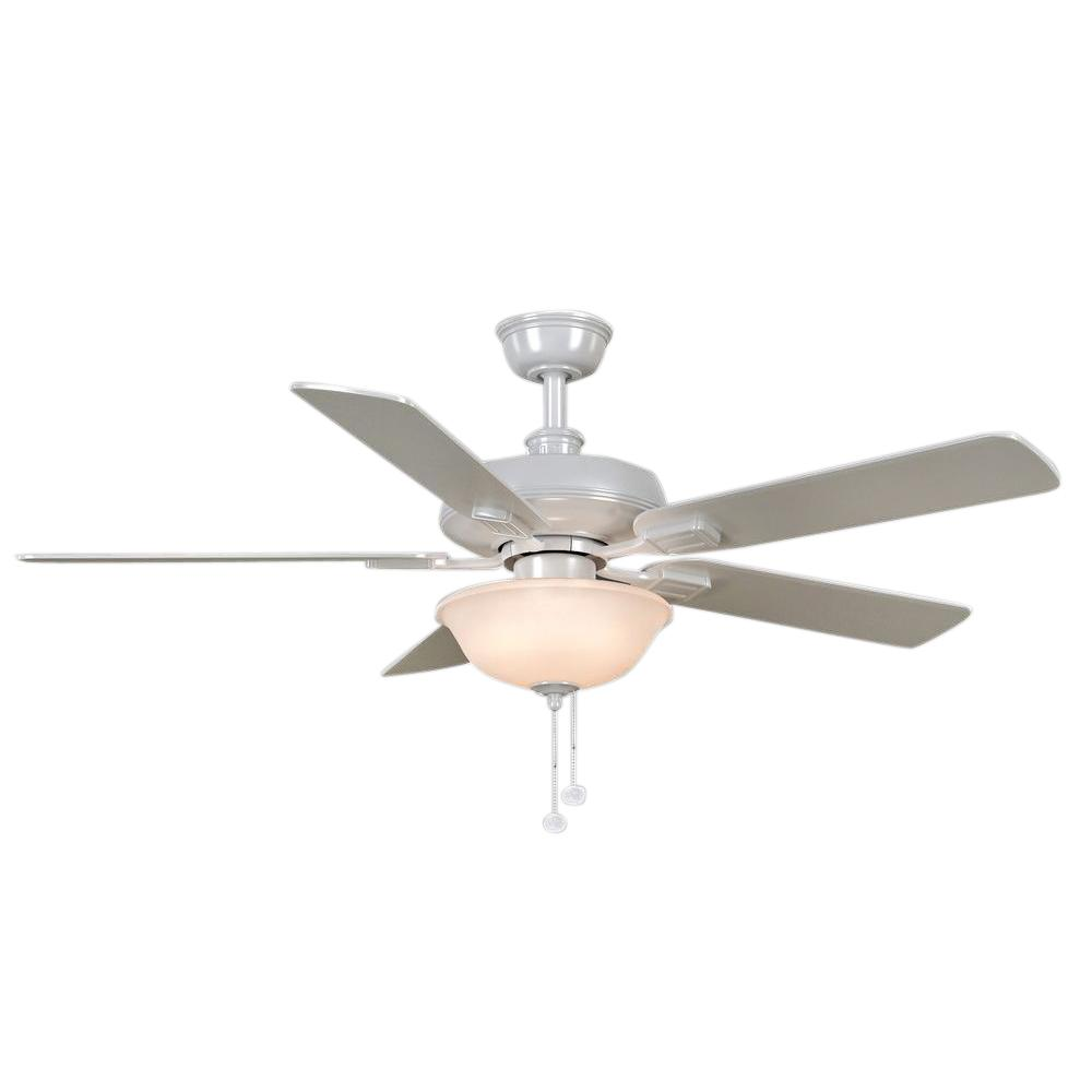 Hampton Bay Larson 52 in. Indoor White Ceiling Fan with Light Kit ...