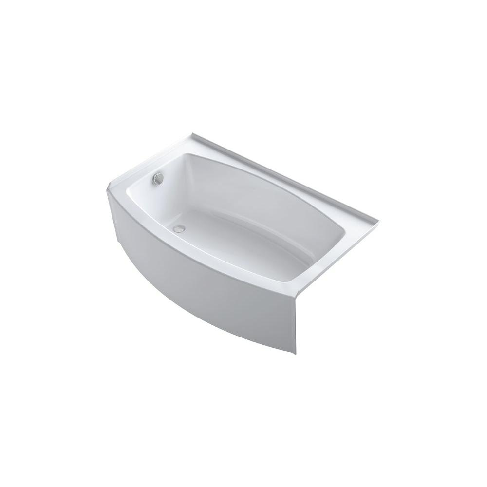 KOHLER Expanse 5 ft. Curved Left Drain Soaking Tub in White K-1118 ...