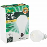 6x Do it – Soft White 60W Dimmable A19 Halogen Lightbulbs (4-Pack)